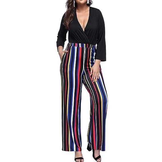 10c405fe198e Amazon.com  Vilover Women s Plus Size Jumpsuits Sexy V Neck Wide Leg Long  Romper Pants  Clothing
