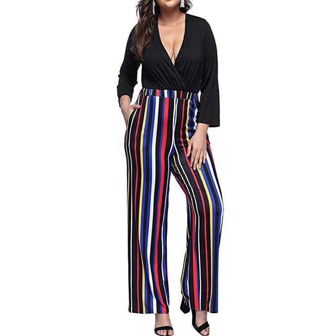8a95006e15ba Vilover Women s 1 Piece Outfits Plus Size Jumpsuits Long Sleeve Loose High  Waist Long Pants Casual