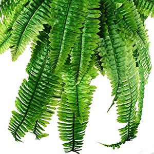 Alapaste Artificial Persian Leaves Fake Grass Hanging Vine Plants Faux Bushes Silk Flower Greenery Plant Ferns Leaves Home Wall Decoration Indoor Outside Hanging Basket 5