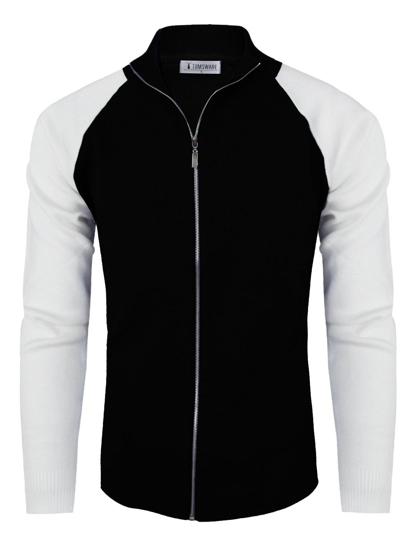 Tom's Ware Mens Stylish Colorblocked Full Zip Cardigan TWHD1016-BLACK-US XL
