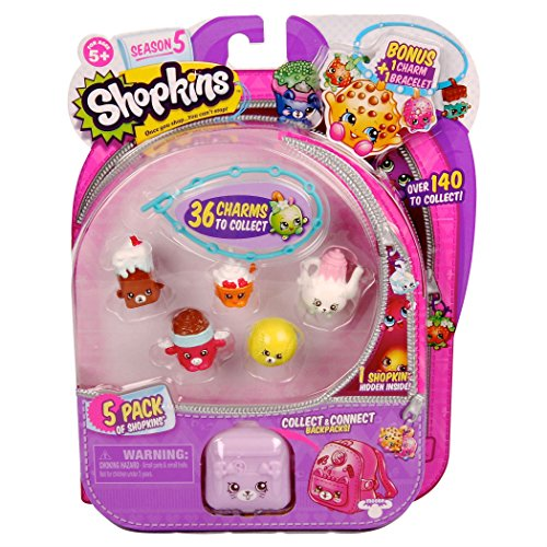 Shopkins 5pk, Season 5 with bonus shopkins charm bracelet!