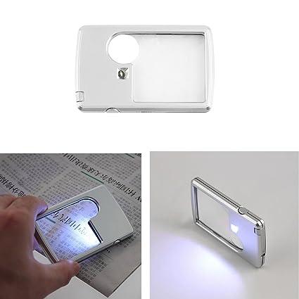 Tarjeta de crédito 3 x 6x lupa de luz LED joyas Lupa lupa + ...