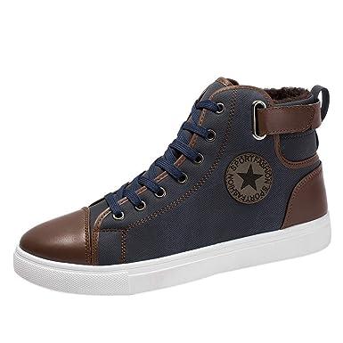 Chaussures Chaudes LuckyGirls Hommes Bottes Chaussures de Sport Casual Plus  Velours Bottines Mode Chaussures Chaussures Montantes Martin Bottes Vintage  ... 49bb0930402