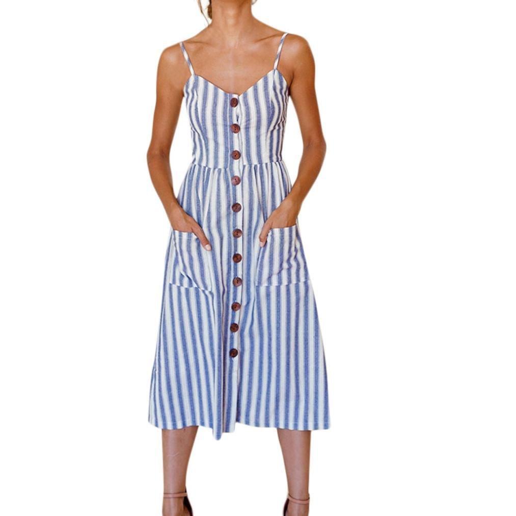 Funic Clearance Deals !Womens Striped Long Maxi Dress Ladies Summer Beach Buttons Party Dress Blue)