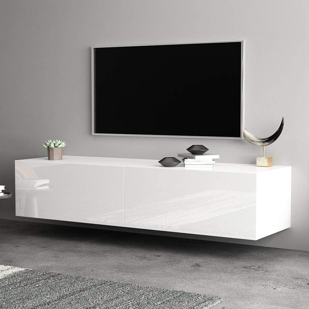 Mueble para TV Blanco, Blanca Estante de Pared para Dormitorio Sala de Estar Mueble de TV montado en la Pared de 140CM Estante Flotante Mueble de TV Colgante