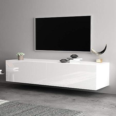 Mueble para Televisión Estilo Moderno 140 x 30 x 40cm Mueble para TV de Pared con Cajon TV Unidad Gabinete para Dormitorio, Sala de Estar, Oficina, Hotel(Blanco): Amazon.es: Hogar