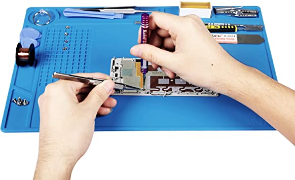 13.7 x 9.8 Inches Kaisi Heat Insulation Silicone Repair Mat with Scale Ruler and Screw Position for Soldering Iron Phone and Computer Repair Size