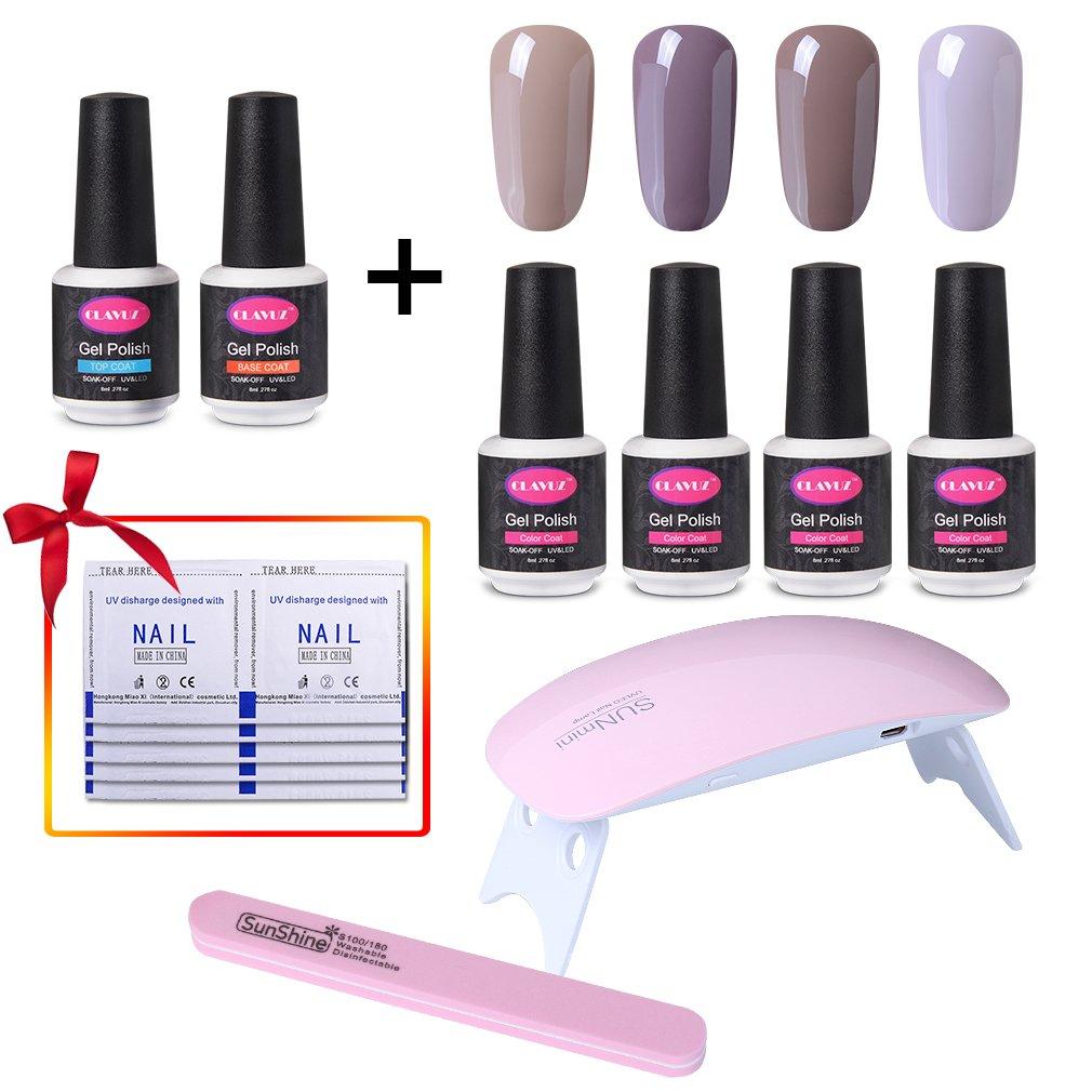 Amazon.com : CLAVUZ Soak Off Gel Nail Polish Set Pink Purple Color ...
