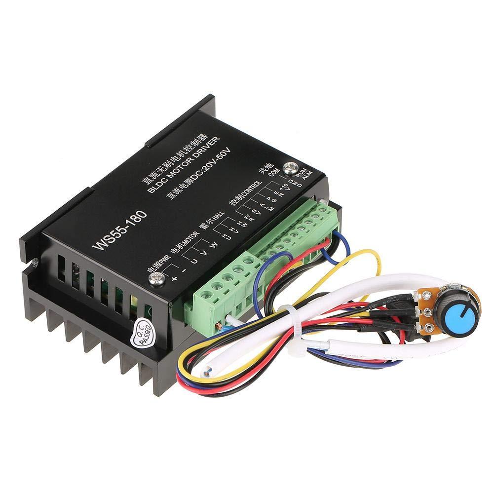 Controlador del controlador del motor - BiuZi 1Pc WS55-180 DC 20V-50V Controlador del controlador del motor DC sin escobillas CNC 20000RPM BLDC Controlador del motor del husillo sin escobillas