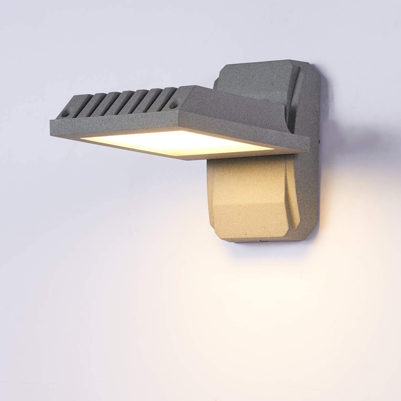 Topmo-plus Lámpara pared al aire libre Bañadores de pared jardín en Moda Luz pared terrazas aluminio 90 grados Giratorio / 18W Bridgelux COB Escaleras/Jardín/Porche Gris Blanco cálido: Amazon.es: Iluminación