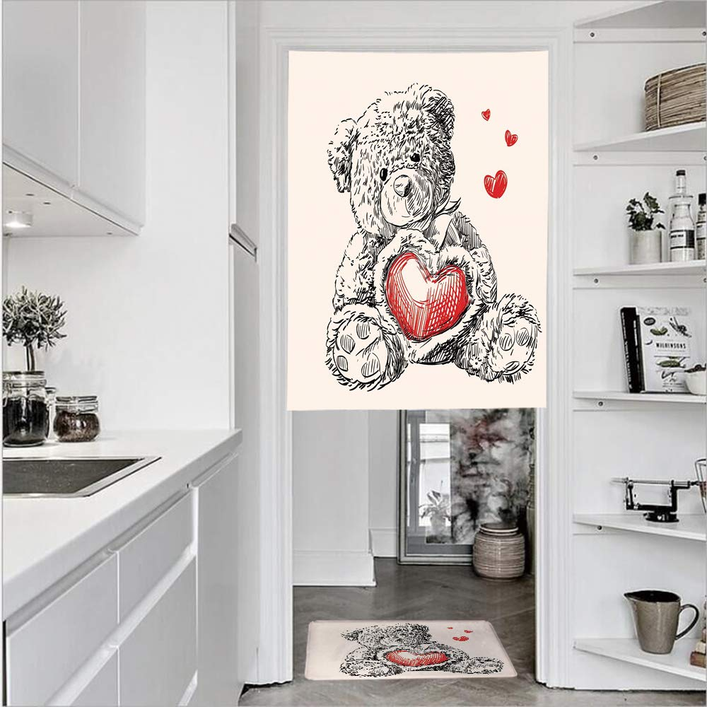 "SCOCICI 3D Printed Linen Textured French 1 Panel Door Curtains 1pcs Doormat Kitchen Mat Rug,Heart Instead a Belly Mini Floating Single Panel Door Curtain 29.5"" w 41.3"" h + 1 PCS Doormat 15.7"" h 23.6"
