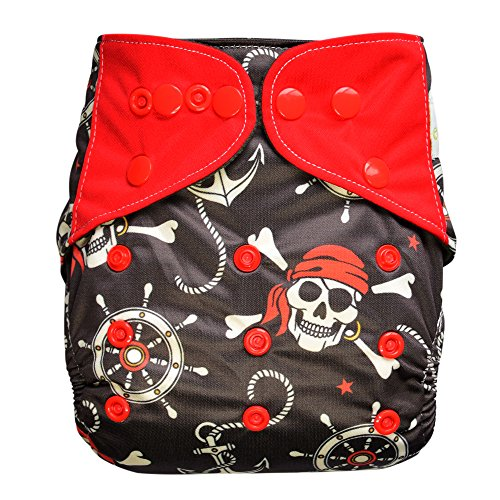 Baby AIO Cloth Diaper Shell One Size  Charcoal Bamboo Fleece with Attached Insert (Pirate)