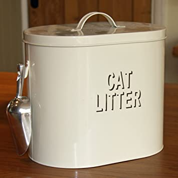 Retro Cream Enamel Cat Litter Storage Tin 21104 Amazoncouk