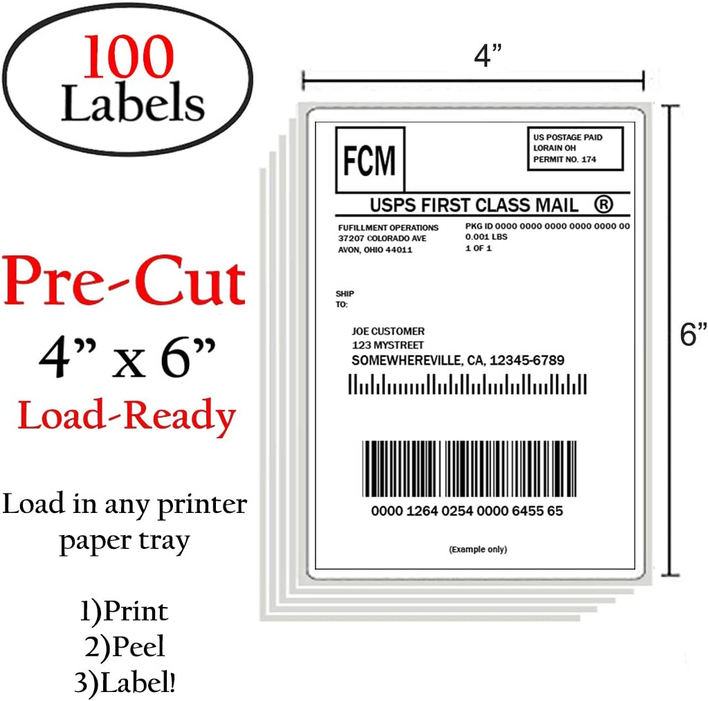 """50lb labels paper 2/"""" x 4/"""" very strong adhesive inkjet"""