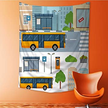 Amazon.com: Tapestry Wall Hanging Bus on The Street in The ...