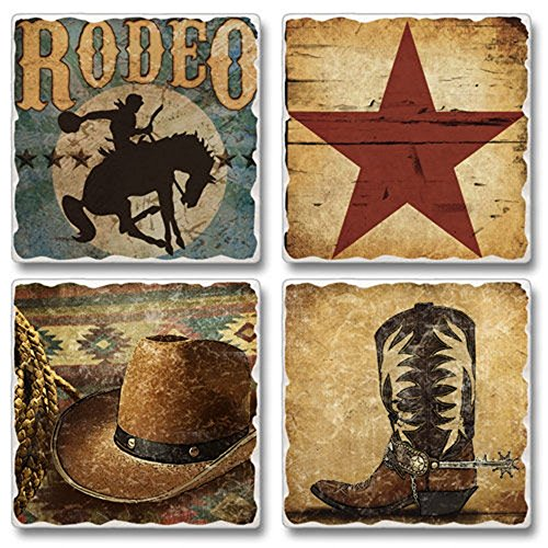 Highland 05-00070 Western Rodeo Set Of 4 Coasters