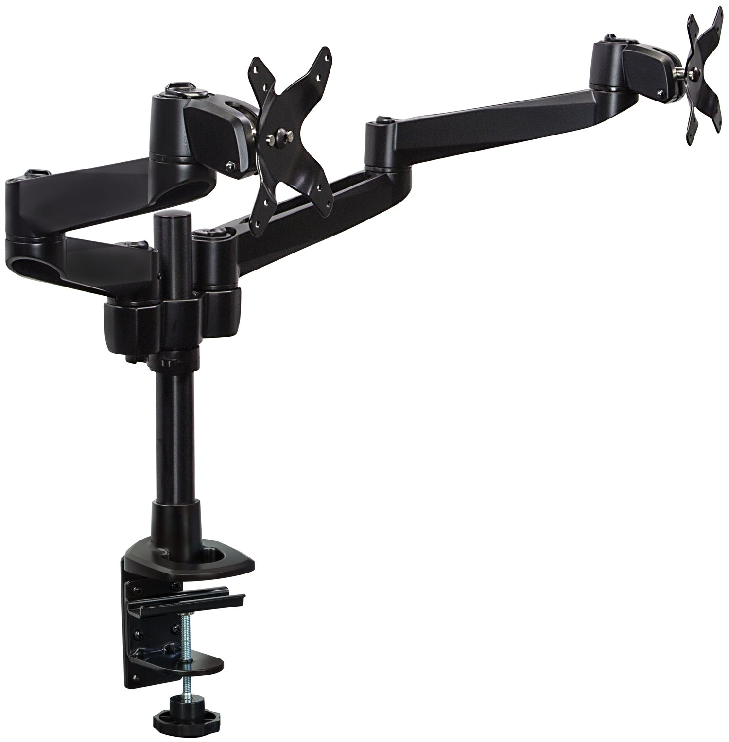 Mount-it! Dual Monitor Desk Mount Swivel Arm, Quick Connect with Combo Grommet and Clamp Base (MI-43111-BLK) by Mount-It!