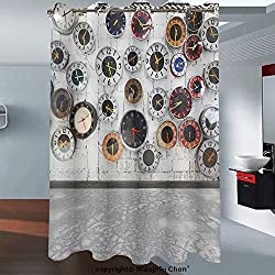 Niasjnfu Chen Custom shower curtain waterproof moisture clocks on the wall