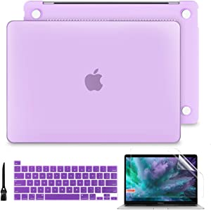 "Batianda Hard Case for 2020 MacBook Pro 13"" A2289/A2251 Printing Rubberized Hard Shell Case Cover+Keyboard Cover + Screen Protector for New Mac Pro 13 Inch Touch Bar, Matte Purple"