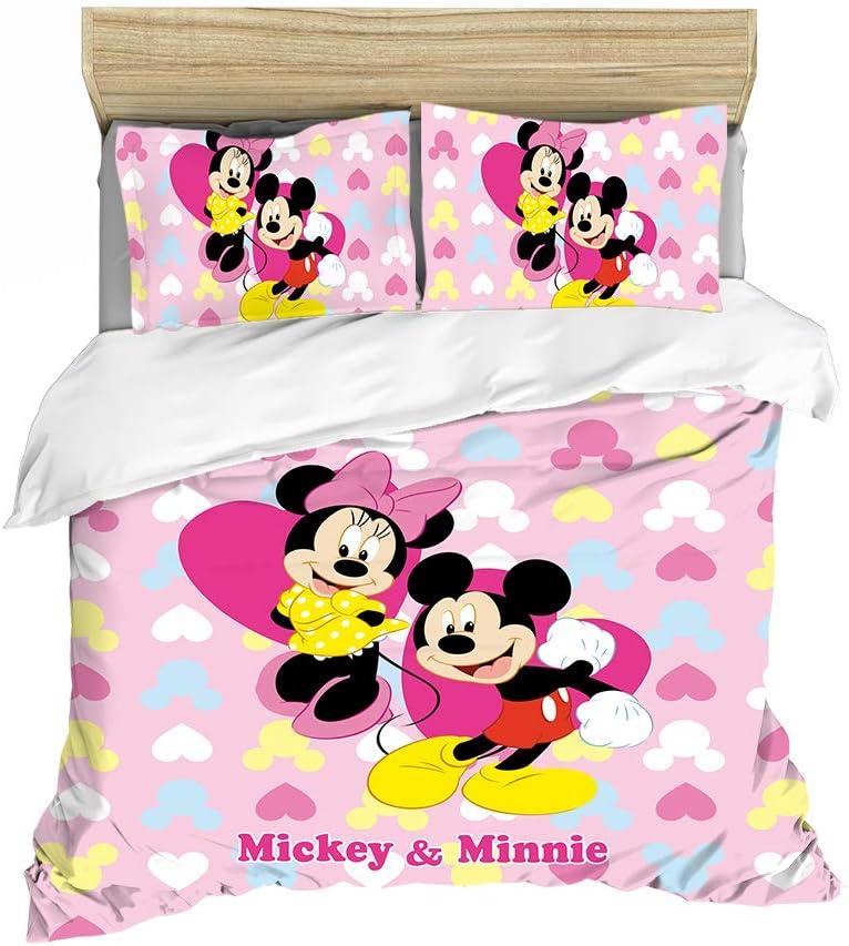 HRX - Juego de funda nórdica y dos fundas de almohada con estampados 3D de Mickey y Minnie, material de microfibra, impresión digital 3D, 27, 135*200cm