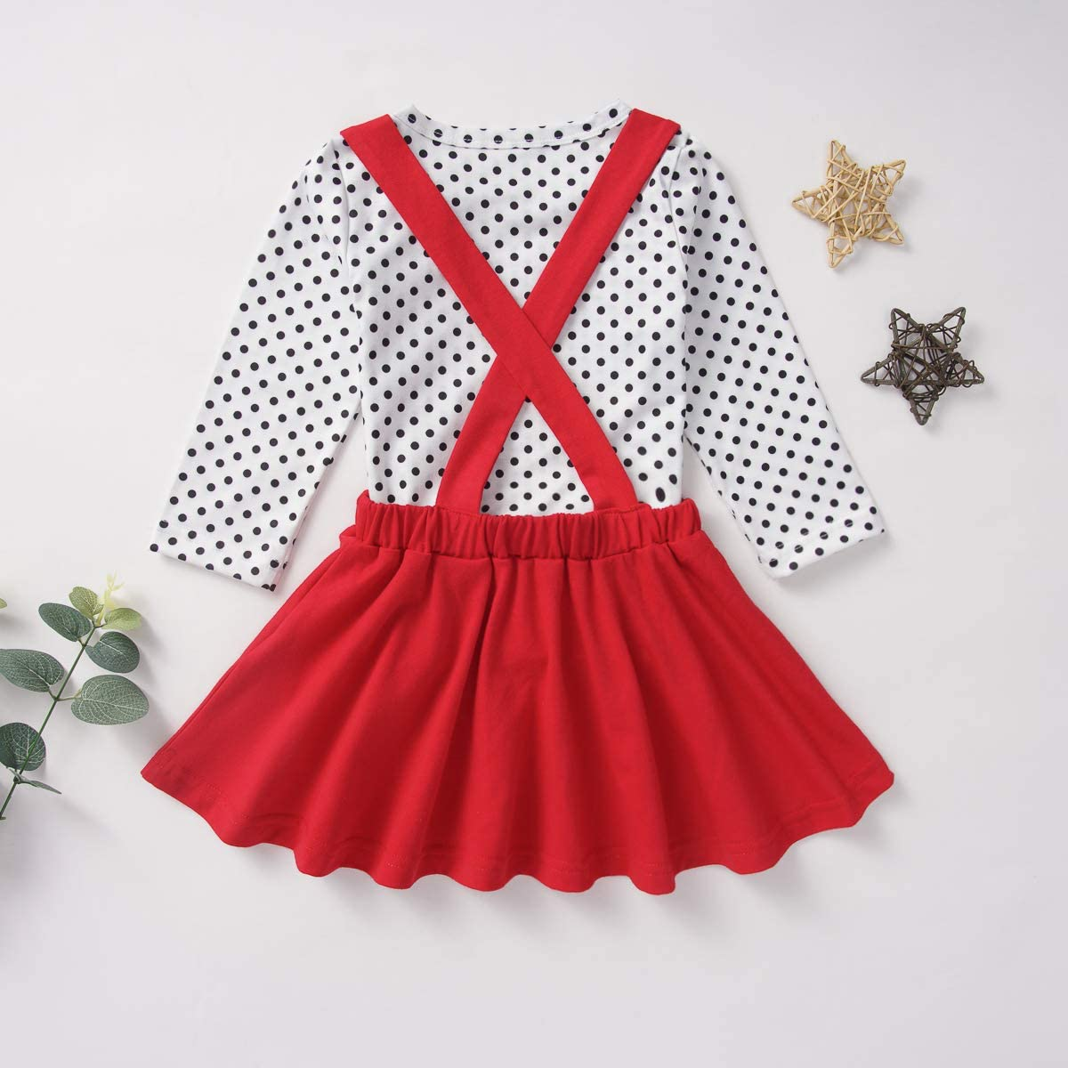 6M-5T Toddler Baby Girl Valentines Day Outfit Long Sleeve Dot Heart Shirt Top+Suspender Strap Red Skirts Set