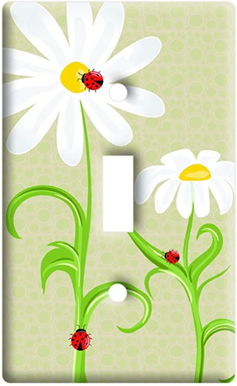 Ladybugs On Daisies Lady Bugs Daisy Flowers Plastic Wall Decor Toggle Light Switch Plate Cover Amazon Com