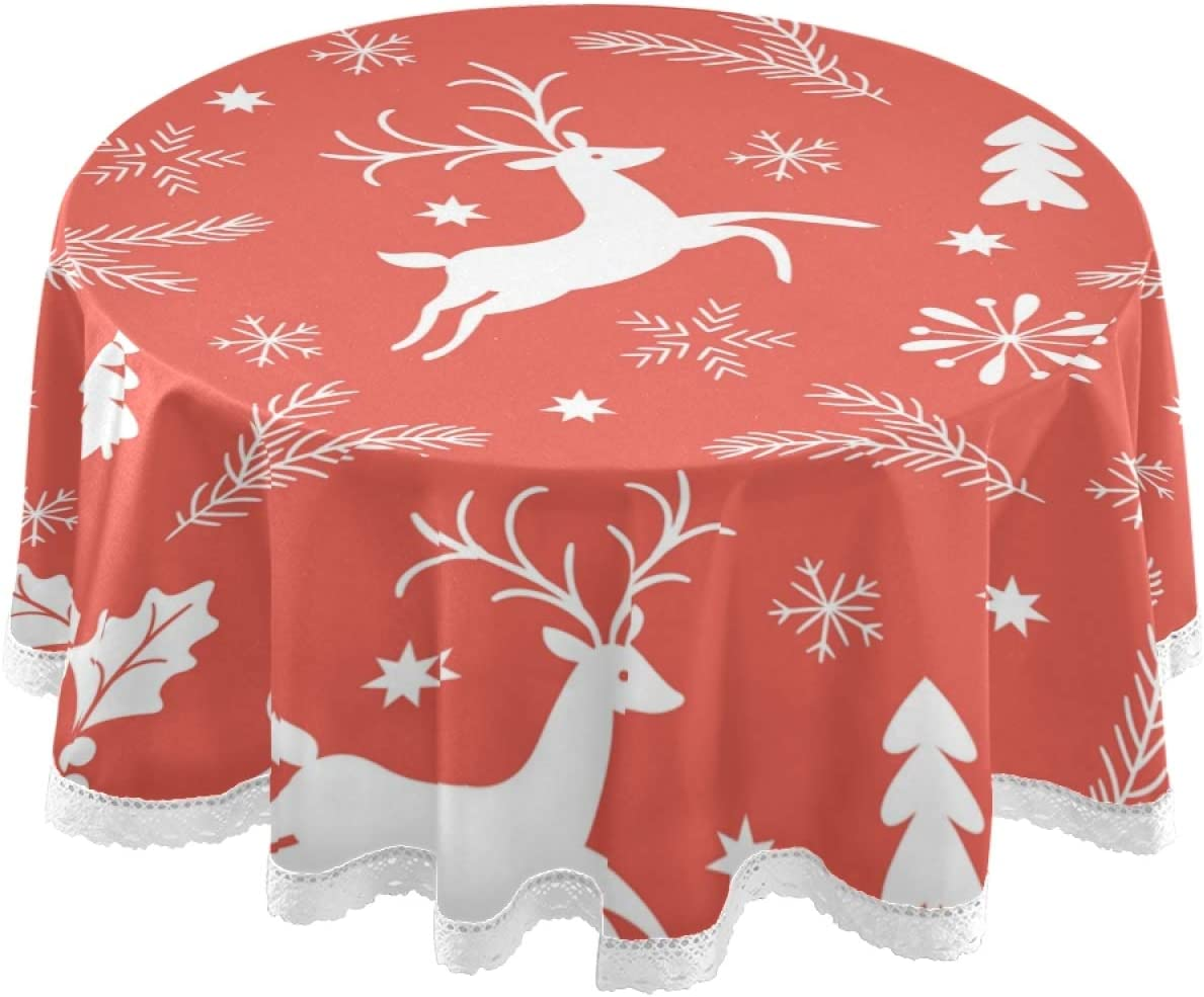Deer Round Tablecloth Christmas Cotton Sateen Circle Tablecloth by Spoonflower Dashing Through The Snow Deer Navy  by heatherdutton