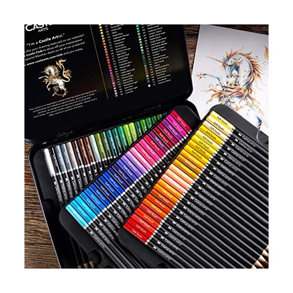 Castle Art Supplies 72 Premium Colored Pencils Set for Adults Artists | Ideal for Coloring Books Drawing Sketching… 2