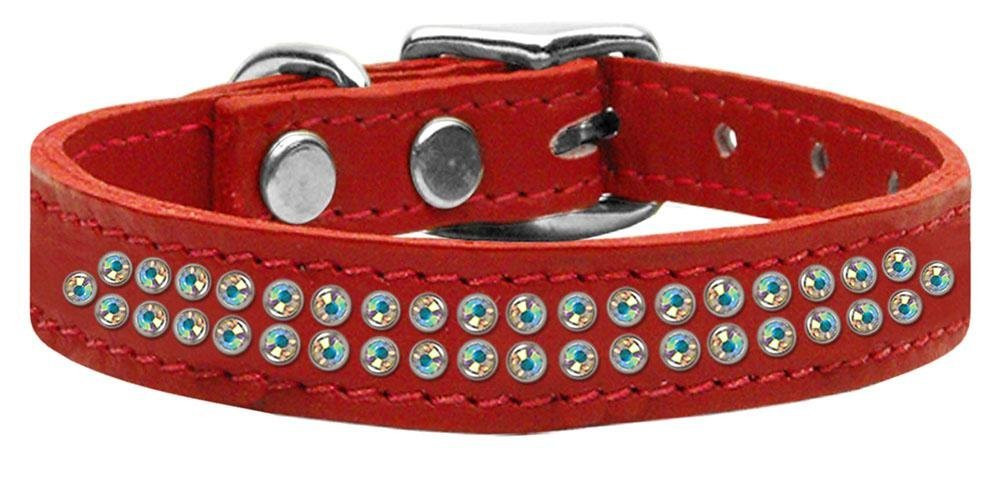 16\ Mirage Pet Products Two Row Aurora Borealis Jeweled Leather Red Dog Collar, 16