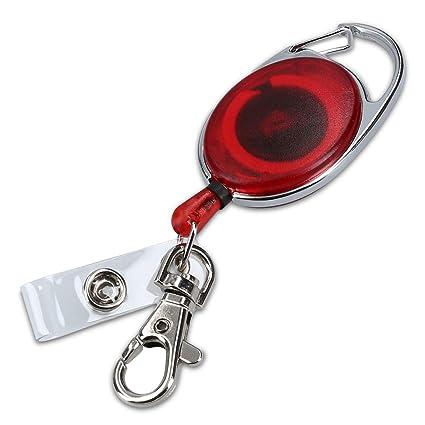 kwmobile Llavero retráctil con clip para tarjeta de identificación - Colgante con cable extensible - Llavero con soporte para tarjeta - rojo