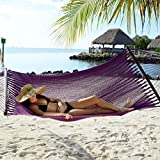 Tropic Island Large Soft Spun Polyester Plum Purple Caribbean Hammock with FREE Hanging Hardware