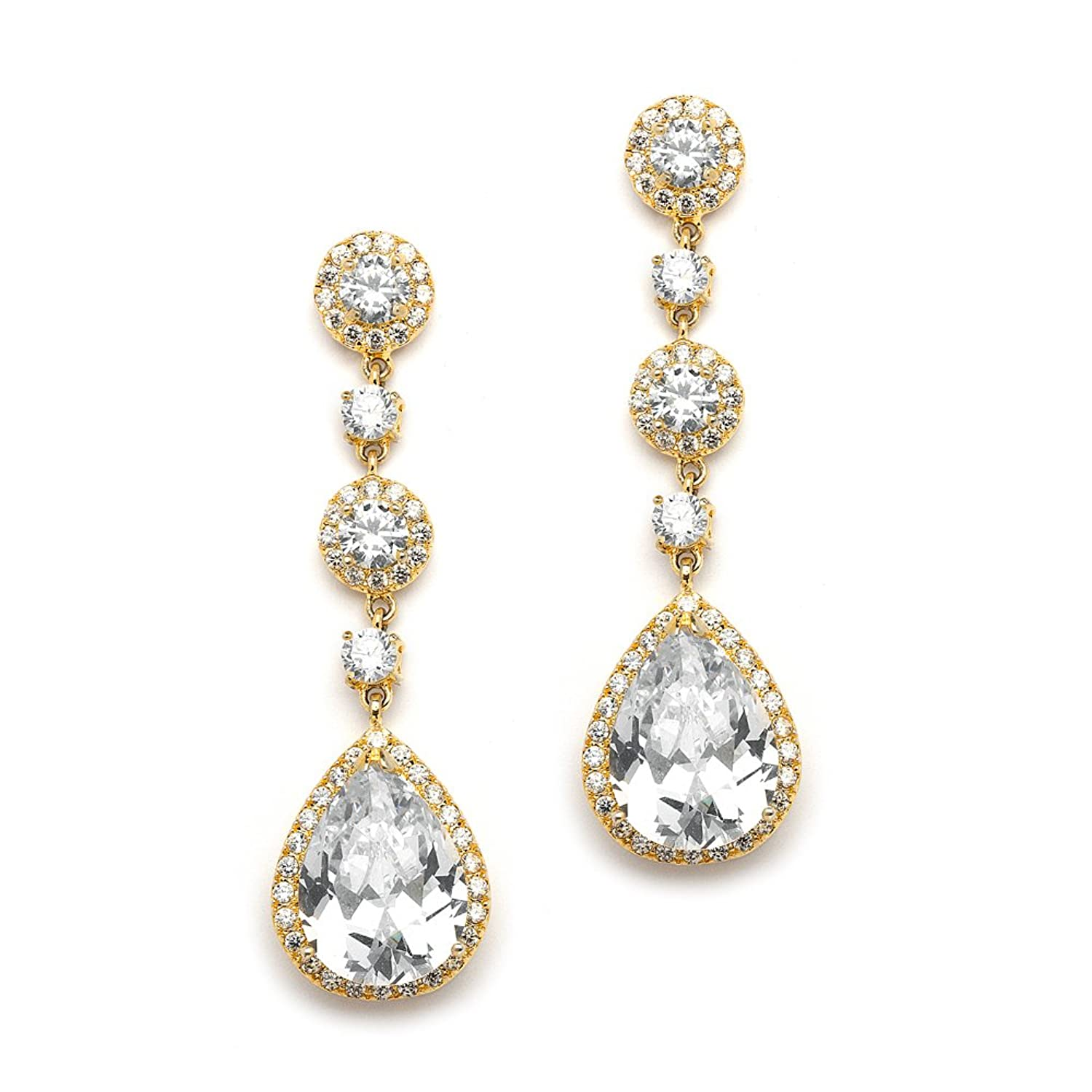 Mariell Genuine 14K Gold Plated Cubic Zirconia Dangle Earrings for Brides with Pave Pear-Shaped Drops