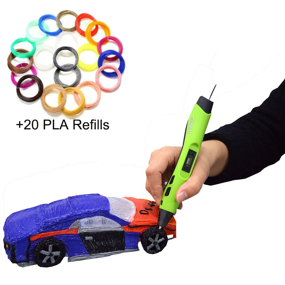 3D Pen with Extra 20 Colors 16.4ft Each Total 328ft PLA Refill 1.75mm ABS/PLA DIY 3D Printing Pen LED/LCD Screen Painting Speed controlable Children Gift