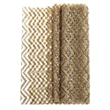 Ling's moment 12 x 72 Inch Champagne and Gold Chevron Striped Sparkly Glitter Table Runner for New Years Eve Party Decor, Fall Decorations