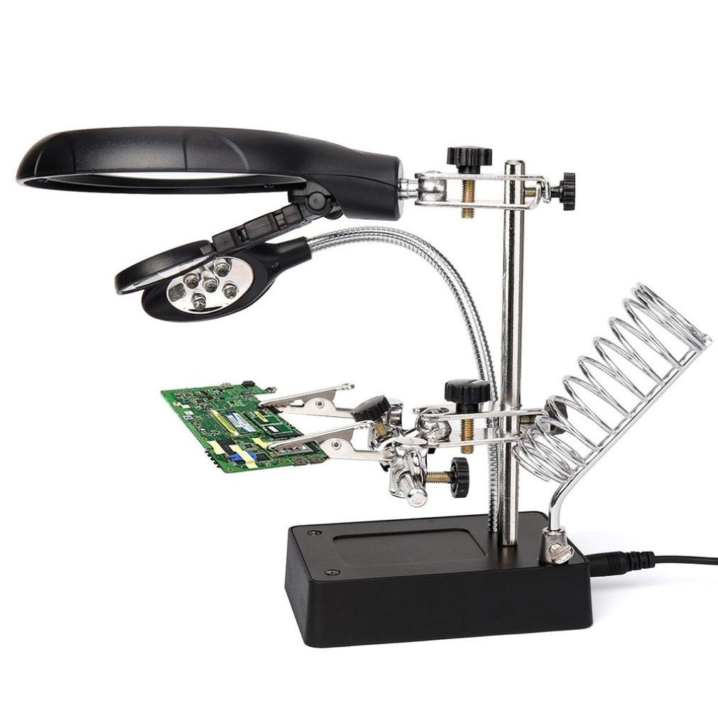 Rucan Helping Hand Soldering Stand With LED Light Glas Clip Magnifier