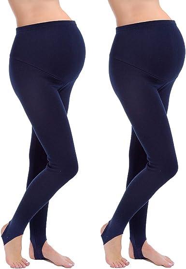 FUTURO FASHION - Leggings de maternidad, pierna completa, 2 unidades, algodón, con forro polar interno Azul azul marino 46: Amazon.es: Ropa y accesorios