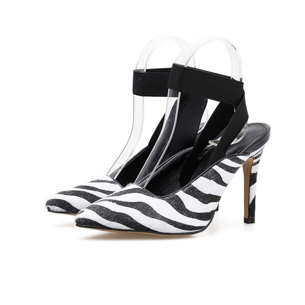 DANDANJIE Frauen High Heel Spitze Zehenschuhe mit Knöchelriemen Zebra-Muster Stiletto Schuhe für Frühjahr 2019