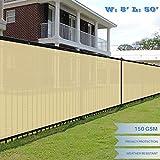 E&K Sunrise 8' x 50' Beige Fence Privacy Screen, Commercial Outdoor Backyard Shade Windscreen Mesh Fabric 3 Years Warranty (Customized Set of 1