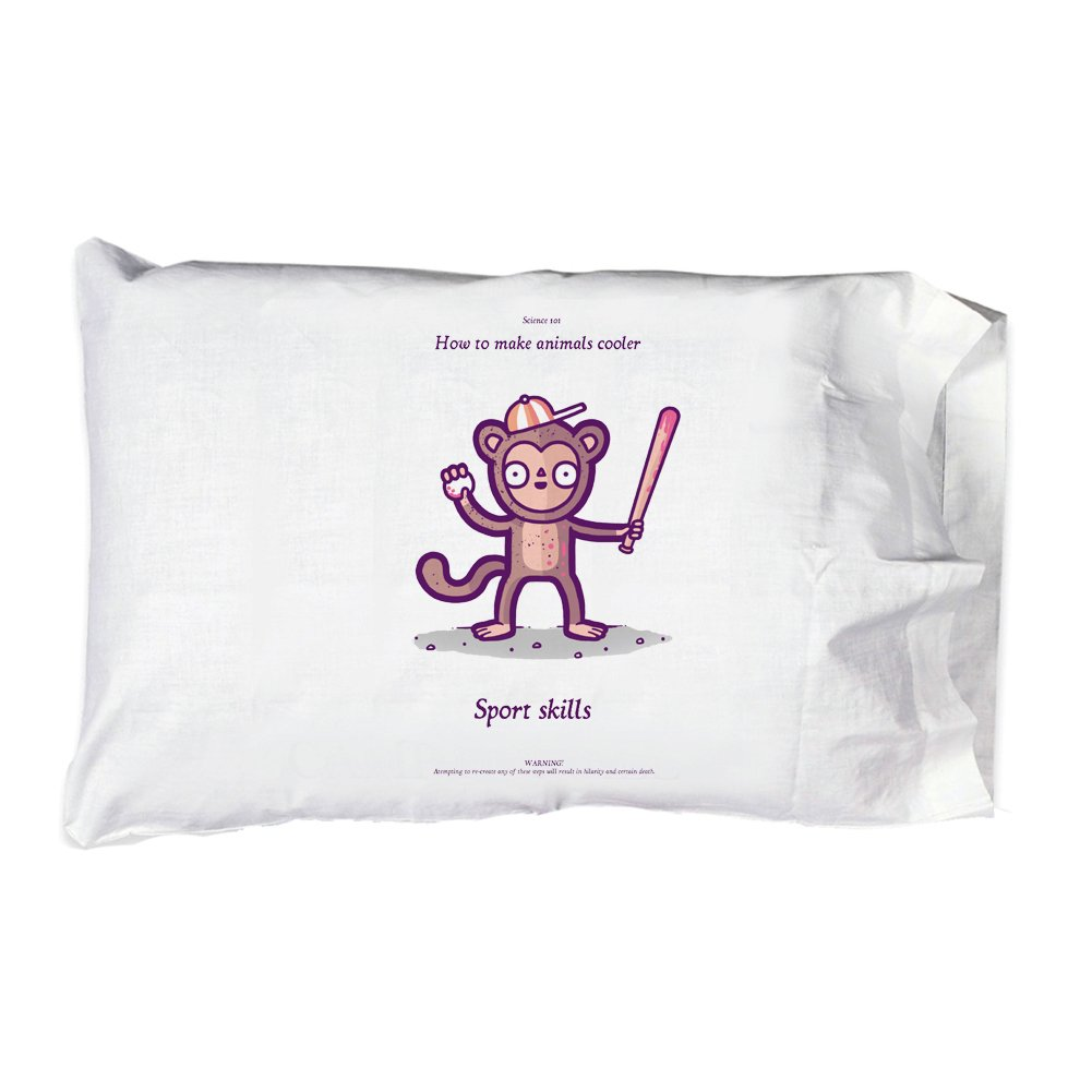 Pillow Case Single Pillowcase - ''How To make Animals Cooler Monkey Sport Skills'' Funny Randy Otter