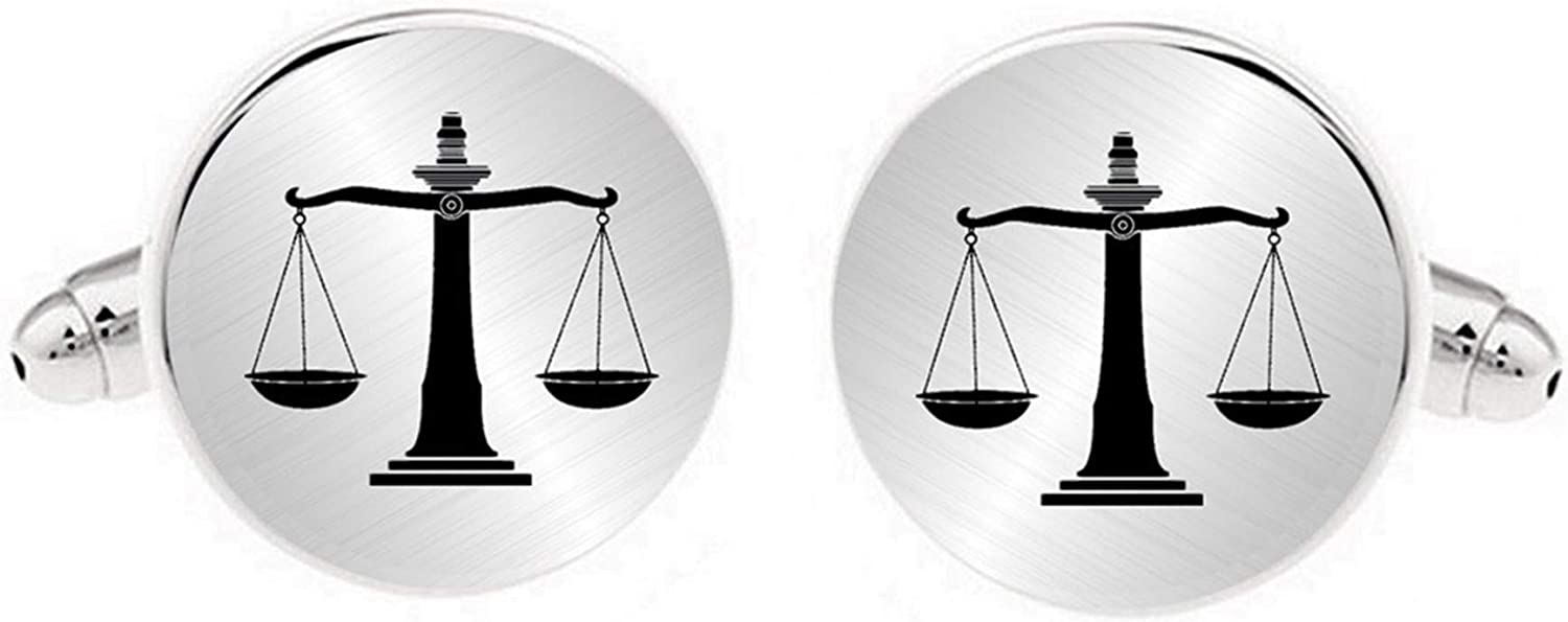 Kooer Engraved Law of Scale Cuff Links Personalized Law Scales Cufflinks Gift for Lawyer Judge