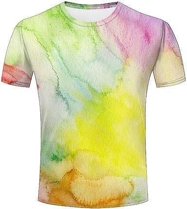 Camiseta para Hombre Acuarela Arcoiris Unisex 3D Impresa Verano Casual tee Shirts: Amazon.es: Ropa y accesorios
