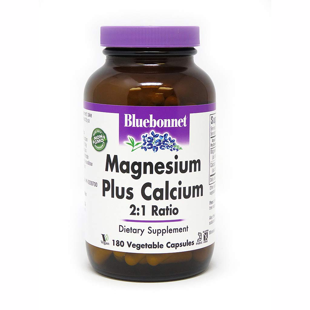 BlueBonnet Magnesium Calcium 2:1 Ratio Vegetarian Capsules, 180 Count, White