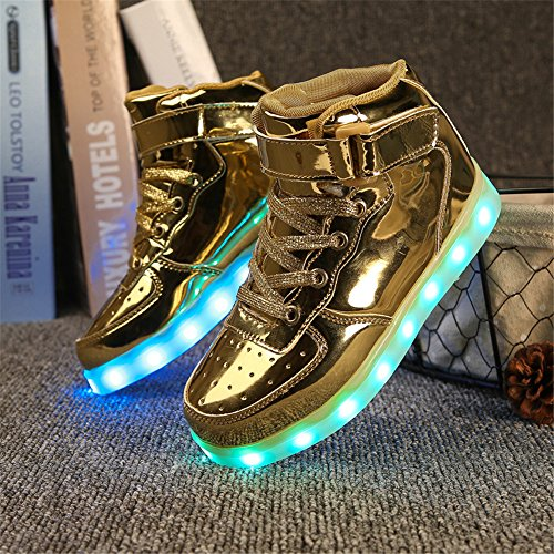 Dogeek Uomo Accendono Sportive Sneakers Le Con Scarpe High gold Led Luminosi Luci ZZrqR