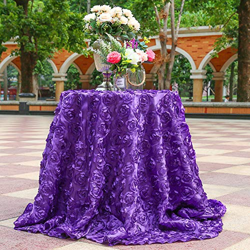 B-COOL Rose Pattern Tablecloth Rosette Comfortable Sedate Romantic for Wedding/Party/New Year/Christmas/Everyday Use 120