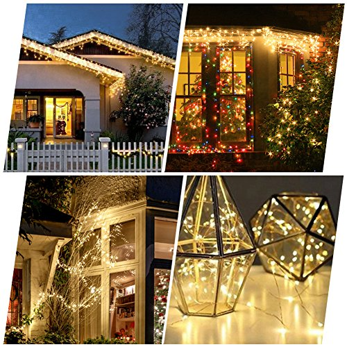 WAAO Solar String Lights, 33ft 100LED Outdoor String Lights, Waterproof Decorative String Lights for Patio, Garden, Home, Gate, Yard, Party, Wedding, Christmas (Warm White) by WAAO (Image #2)