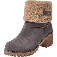Bottes d'hiver pour Femmes - Bottes Chaudes en Fausse Fourrure - Bottes en Daim - Chunky - Chaussures à Talons mi