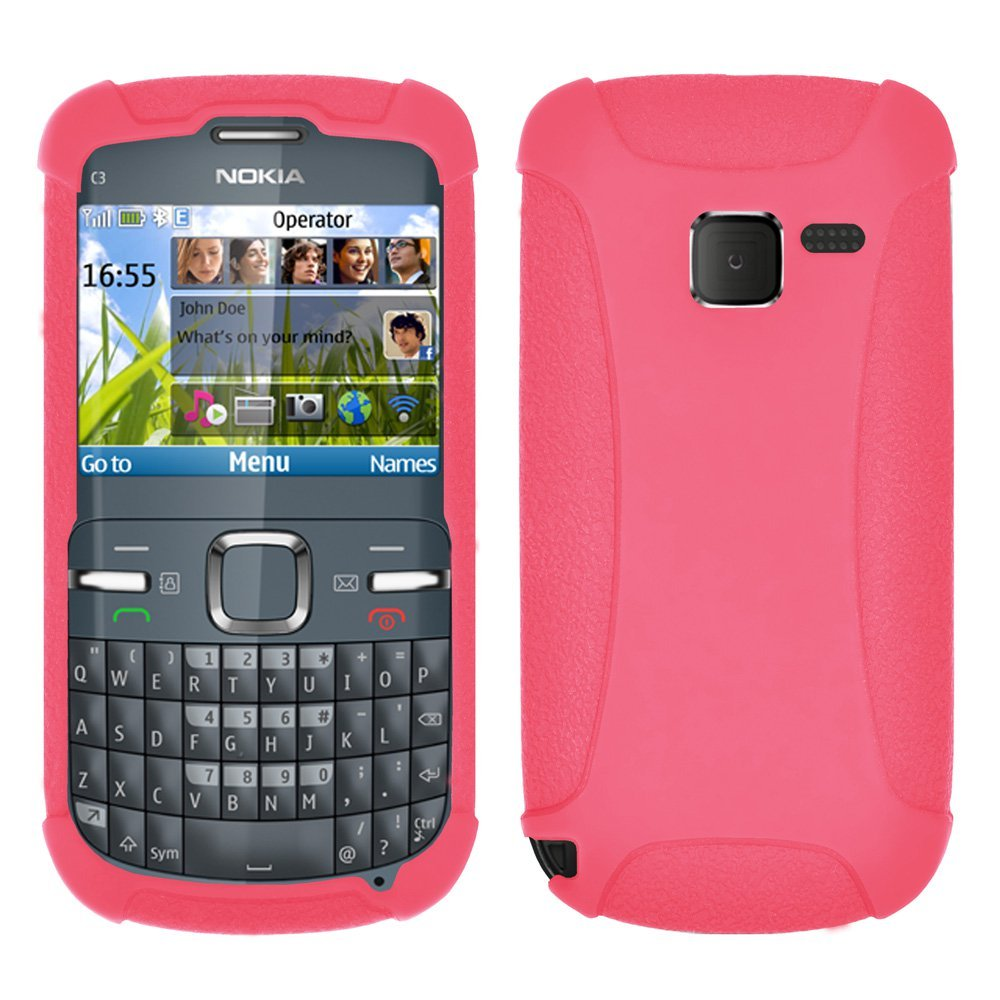 newest collection ce41f ce41a Amzer Silicone Skin Jelly Case for Nokia C3 - Baby Pink