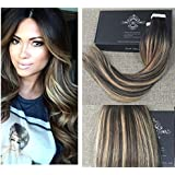 """Full Shine 16"""" 20 Pcs 50 Gram Color #2 Fading to #3/27 Balayage Hair Extensions of Seamless Tape in Hair Extensions"""