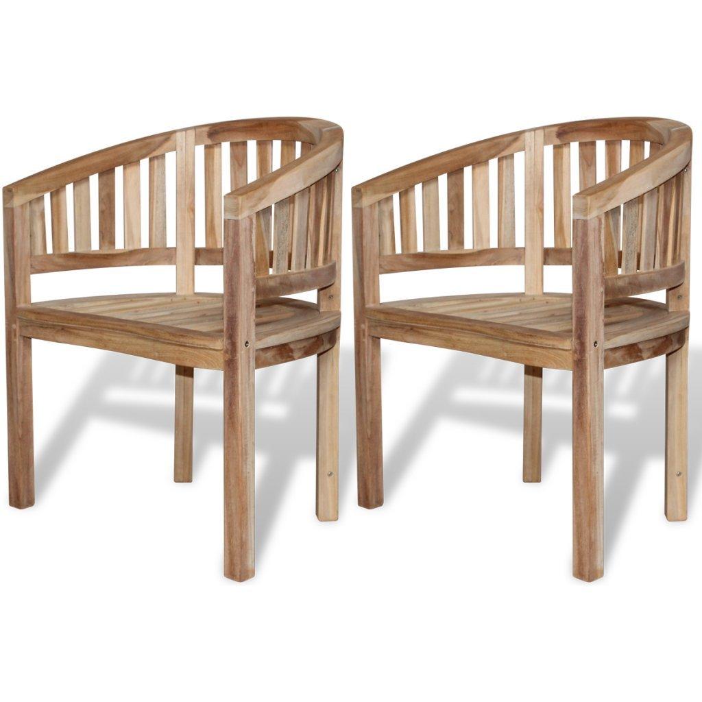 Festnight Wooden Garden Chair Banana Peanut Chair Teak Set of 2