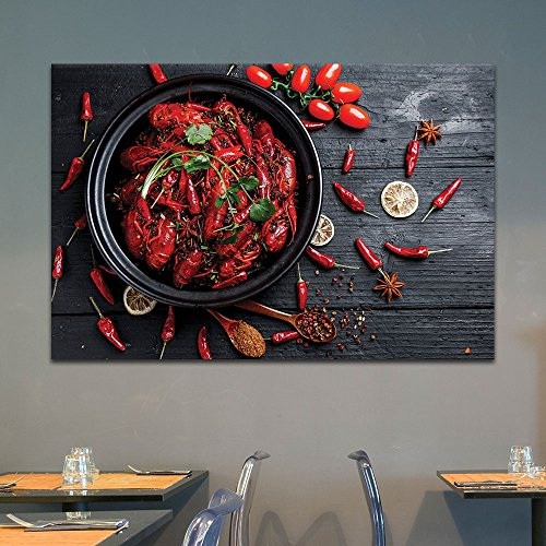Red Lobsters and Chili Peppers on Wood Background